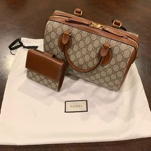 Gucci Top Handle Bag Beige Gg Supreme Canvas